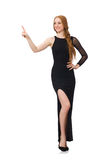 Young lady in elegant black dress Stock Images