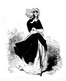 Young lady elegant dressed outdoors in the wind, XIX engraving Stock Photos