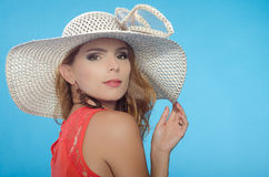 Young lady. With elegant hat royalty free stock image