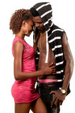 Young lady embracing boyfriend. Young African American lady embracing boyfriend Royalty Free Stock Photos