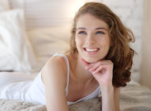 Young lady enjoying her morning and wake up. Stock Images