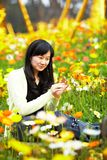 young lady in  flower fields Royalty Free Stock Image