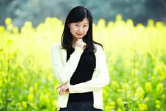 Young lady in  flower fields Stock Image