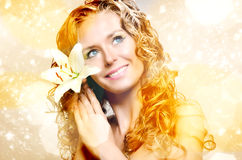 Young lady with flowers Stock Photos