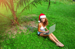 Young lady freelancer sitting on the grass with laptop in christmas hat in jungle Royalty Free Stock Photos
