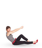 Young lady gesturing with copy space Stock Photos
