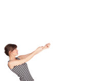 Young lady gesturing with copy space Royalty Free Stock Photo