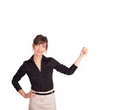 Young lady gesturing with copy space Stock Images