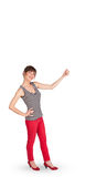 Young lady gesturing with copy space Royalty Free Stock Image