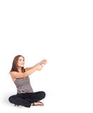 Young lady gesturing with copy space Royalty Free Stock Photography