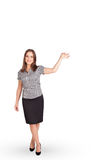 Young lady gesturing with copy space Royalty Free Stock Images