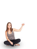Young lady gesturing with copy space Stock Photography