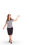 Young lady gesturing with copy space Stock Photo