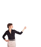 Young lady gesturing with copy space Royalty Free Stock Photos