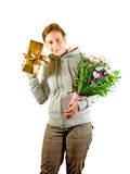 Young lady with a gift Royalty Free Stock Photos
