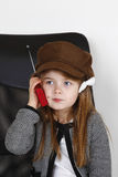 Young lady. Young girl with blue eyes. Radio Royalty Free Stock Photography