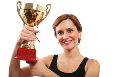 Young lady with gold cup Royalty Free Stock Photography
