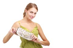 Young lady with handbag Royalty Free Stock Photo