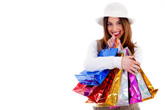Young lady happy with lot of shopping bags Royalty Free Stock Photography