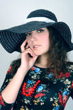 Young lady in hat Stock Photos
