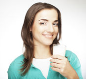 Young lady having a glass of milk Stock Image