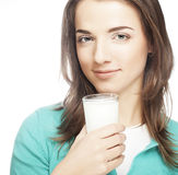 Young lady having a glass of milk Stock Photo
