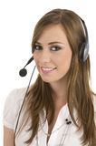 Young lady with headset Royalty Free Stock Photos