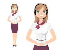 Young Lady With Headset Vector Character. Female customer service representative with headset. Vector image of a young woman character stock illustration