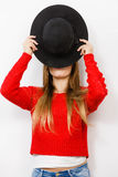 Young lady hiding her face. Royalty Free Stock Photos