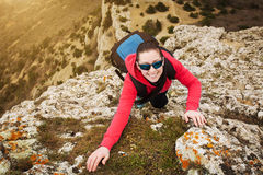 Young lady hiker with backpack Stock Photography