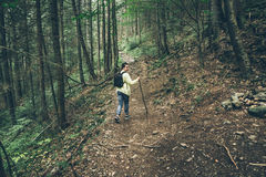 Young lady hiker with backpack walking in carpathian Royalty Free Stock Photos