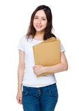 Young lady hold with folder Stock Image
