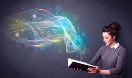 Young lady holding book with waves Stock Photography