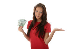 Young lady holding cash Royalty Free Stock Images