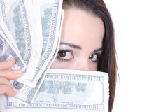 Young lady holding cash Stock Photography
