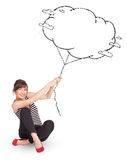 Young lady holding cloud balloon drawing Stock Images