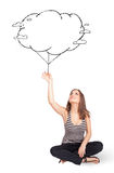 Young lady holding cloud balloon drawing Stock Photo