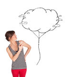Young lady holding cloud balloon drawing Stock Photos