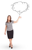 Young lady holding cloud balloon drawing Stock Photography