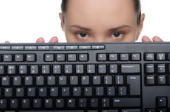 Young lady holding a keyboard Stock Photo
