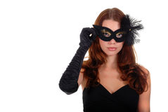 Young lady holding mask. On white background Royalty Free Stock Image