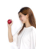 Young lady  holding red apple . Stock Images