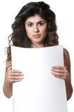 Young Lady Holding Sign Stock Images