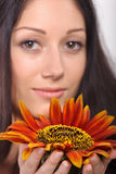 Young lady holding sunflower near face Royalty Free Stock Photography