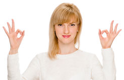 Young lady indicating ok sign Stock Image