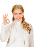 Young lady indicating ok sign Stock Photography