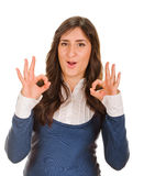 Young lady indicating ok sign Royalty Free Stock Image