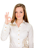 Young lady indicating ok sign Royalty Free Stock Photography