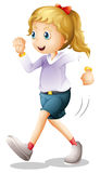 A young lady jogging Stock Photo