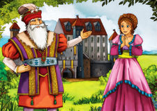 Young lady and king in front of castle Stock Image